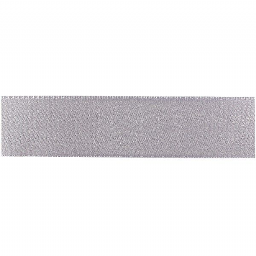 Double Faced Satin Ribbon - Silver/Dolphin Glitter 25mm